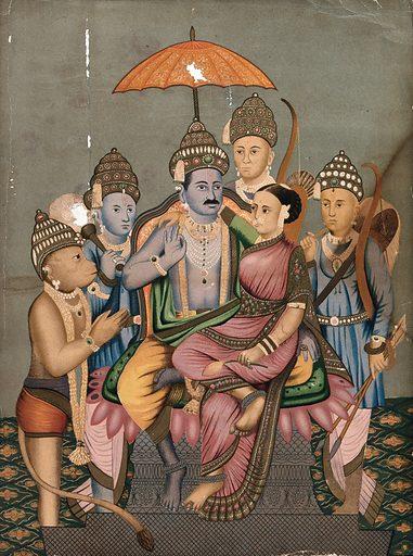 Rama and Sita enthroned attended by Hanuman, Bharata and Laksmana. Chromolithograph. Rāma (Hindu deity). Hanumān (Hindu deity). Lakṣmaṇa (Hindu deity). Sītā (Hindu deity). Hindu gods. Hindu goddesses. Bharata (Hindu mythology). Hindu mythology. Work ID: cgqvpw3b.