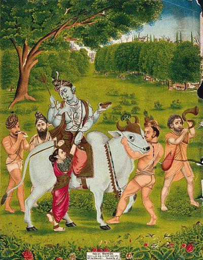Shiva mounted on Nandi surrounded by attendants helping Parvati to mount. Chromolithograph, 1875. Created 1875. Siva (Hindu deity). Hindu gods. Parvati (Hindu deity). Hindu goddesses. Musical instruments – India. Shells. Yogis. Hindu symbolism. Hindu mythology. Bulls. Work ID: rm53fk33.
