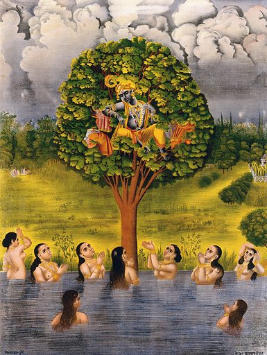 Krishna seated in a tree above a river with the gopis' clothes and making the gopis plead for their garments. Chromolithograph. Krishna (Hindu deity). Cowgirls. Nudity. Begging. Tricks. Hindu gods. Hindu mythology. Rivers. Work ID: gjy49zex.