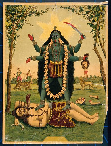 Kālī standing triumphantly over Shiva. Chromolithograph. Created between 1800 and 1899. Kālī (Hindu deity). Siva (Hindu deity). Death. Fear. Parvati (Hindu deity). Durgā (Hindu deity). Hindu goddesses. Hindu gods. Lion. Tiger. Hindu mythology. Hindu symbolism. Work ID: sha472bp.