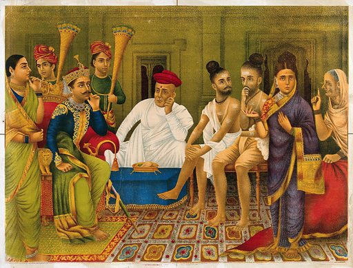 Dasaratha being asked in court to banish Rama by Kaikeyi and her humpbacked female slave Manthara. Chromolithograph. Rama is an incarnation of Vishnu who chose Dasaratha, King of the Solar race as his human father. Dasaratha was childless and performed many sacrifices to the gods to obtain one, during one of these sacrifices, Vishnu appeared giving Dasaratha a pot of nectar to make his wives conceive which was split between the three wives. Dasaratha split the nectar in one half and two quarter portions between Kausalya who gave birth to Rama, and Kaikeyi who gave birth to Bharata, and the last quarter to Sumitra who brought forth twins, Lakshmana who was devoted to Rama and Satrughna who was devoted to Bharata. When all four had grown up, Kaikeyi who was Dasaratha's favourite wife and who had been kind to Rama during his childhood, listened to her spiteful humpback servant Manthura, who persuaded Kaikeyi to quarrel with Dasaratha until he banished Rama to the forest. Rāma (Hindu deity). Sītā (Hindu deity). Jealousy. Kings and rulers. Courts. Kyphosis. Spine – Abnormalities. Hindu gods. Hindu goddesses. Malicious mischief – India. Hindu mythology. Costume – India. Yogis. Work ID: upn62bqh.