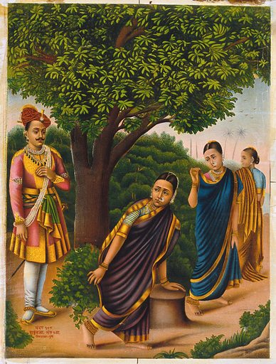 Sakuntala with two females surprised by King Dushyanta. Chromolithograph. Sakuntalā was the daughter of Viswāmitra by the nymph Menakā who eventually became the wife of King Dushyanta. She was the mother of Bharata who was the head of a long race of kings and who gave his name to India – Bhaārata-varsha. Śakuntalā (Hindu mythology). Kings and rulers. Princes. Princesses. Queens. Royal houses. Emotions. Costume – India. Work ID: nserwju6.