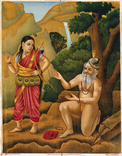 A huntress coming across Shiva as a yogi. Chromolithograph. Siva (Hindu deity). Hunters. Yogis. Hindu mythology. Hindu gods. Costume – India. Work ID: kx47vynz.