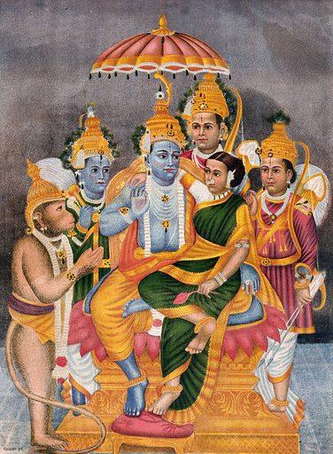 Rama enthroned with Sita surrounded by Hanuman, Garuda, Krishna and one other. Chromolithgraph. Rāma (Hindu deity). Sītā (Hindu deity). Hanumān (Hindu deity). Garuḍa (Mythical bird). Krishna (Hindu deity). Hindu gods. Hindu goddesses. Mythical. Animals. Hindu mythology. Work ID: g7nys8qw.
