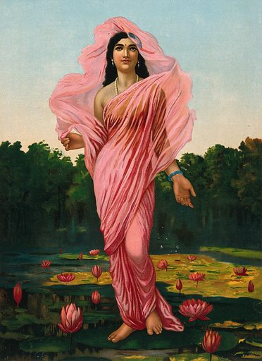 Padmini, the Lotus lady: an excellent category of woman according to the Kama Sutra. Chromolithograph by R Varma. One of many images of woman who are aesthetically ideal according to the Kama Sutra. Personal. Beauty. Hindu mythology. Lotus. Water. Contributors: Ravi Varma (1848–1906). Work ID: fyh9mgum.