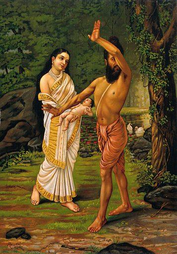 Viswāmitra rejecting his daughter Sakuntalā's birth. Chromolithograph by R Varma. Contributors: Ravi Varma. Work ID: ruwzgqzn.