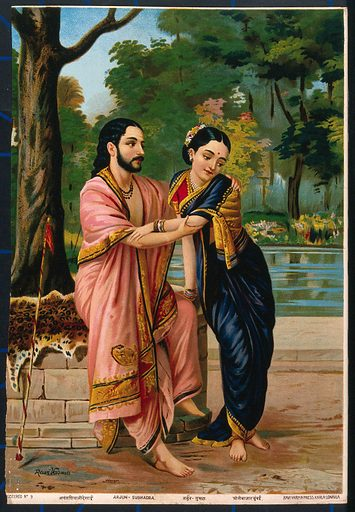 Arjuna in disguise a dancing teacher wooing Subhadra. Chromolithograph by R Varma. Subhadrā is the sister of Krishna and Balarāma with whom she makes up the Jagannātha, and also the second wife of Arjuna. She was due to marry Duryodhana, but Arjuna carried her off at Krishna's suggestion and Balarāma eventually blessed their union. Costume – India. Courtship. Marriage proposals. Bashfulness. Disguise. Dance teachers. Hindu mythology. Subhadrā (Hindu mythology). Contributors: Ravi Varma (1848–1906). Work ID: k9h6kz45.