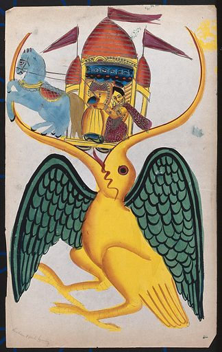 Rāma and Sītā being carried in the beak of Jatayu. Watercolour drawing, c 1880. Jatayu was the king of vultures and a devotee of Rama. When Ravana abducted Sita and carried her off in his flying chariot, Jatayu engaged him in an aerial battle to rescue her. Unfortunately Jatayu was mortally wounded by Ravana and only survived long enough to tell Rama about Sita's fate. Rāma (Hindu deity). Sītā (Hindu deity). Hindu gods. Hindu goddesses. Vultures. Mythical. Animals. Hindu mythology. Horses. Work ID: stz38bv8.