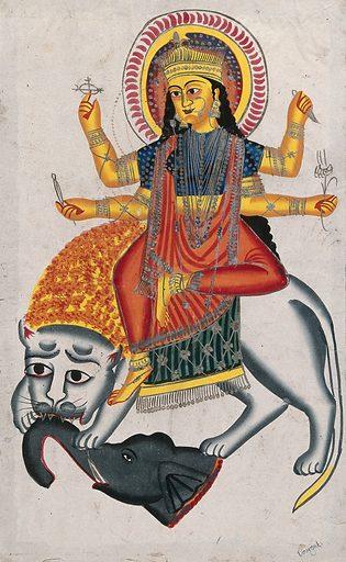 Durga riding on her lion killing a demon. Watercolour drawing. Created between 1800 and 1899?. Durgā (Hindu deity). Lion. Tiger. Demonology. Death. Hindu goddesses. Hindu mythology. Work ID: twbvzxcj.