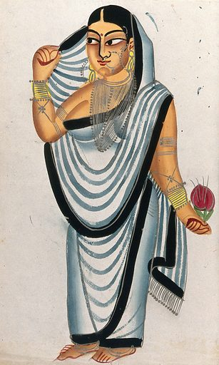 A courtesan holding a rose. Watercolour drawing. Courtesans – India. Roses. Costume – India. Jewelry. Work ID: gqv39upf.
