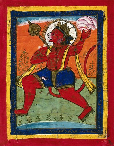 Page 131: Hanuman. Gouache drawing. Hanumān (Hindu deity). Monkeys. Hindu gods. Hindu symbolism. Hindu mythology. Work ID: eaagej55.