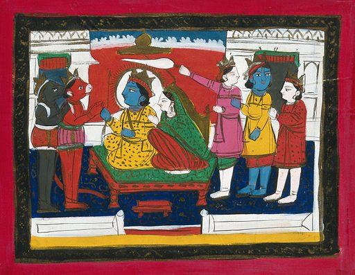 Page 158: Rama and Sita enthroned with Hanuman, Laksmana and others in attendance. Gouache drawing. Rāma (Hindu deity). Sītā (Hindu deity). Hanumān (Hindu deity). Hindu gods. Hindu goddesses. Hindu mythology. Lakṣmaṇa (Hindu deity). Work ID: jps4ef68.