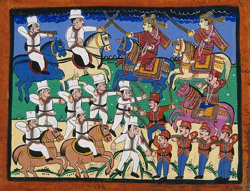 A battle between British and Indians. Gouache drawing. Possibly a battle from the Indian Mutiny 1857–1858. Imperialism. Horses. Battles. War. Work ID: jtm7rq6z.