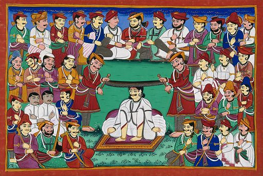 A man being tortured and executed in public. Gouache drawing. Costume – India. Torture. Punishment – Religious aspects. Executions and executioners. Kings and rulers. Soldiers. Ethnology – India – History, Military. Work ID: jdu4zsdz.