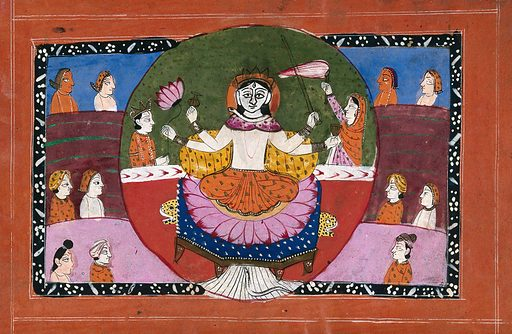 Durga on her lotus with symbols surrounded and attended by devotees. Gouache drawing. This is an unusual depiction of Durga as it is common for her to have ten arms with weapons, and in this image she only has four arms. Durgā (Hindu deity). Parvati (Hindu deity). Siva (Hindu deity). Hindu goddesses. Hindu symbolism. Lotus. Weapons. Armor. Worship. Hinduism. Hindu mythology. Tiger. Snakes. Work ID: ks3e3yed.