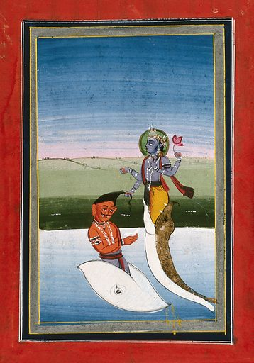 Vishnu in his incarnation of Matsya fighting with a demon. Gouache drawing. Vishnu (Hindu deity). Hindu gods. Incarnation. Avatars (Religion). Fishes. Demonology. Lotus. Hindu mythology. Work ID: a7j796vr.