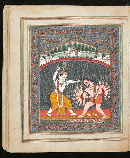Panjabi Manuscript 255. Illimunated chapter heading. The extensive floral and vine decorations are caracteristic 19th c Kashmiri productions, while the interlinear golden 'cloud' decorations evoke similar adornments used in Islamic manuscripts. Krishna. Sacred Subjects. Work ID: umtze432.