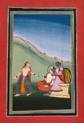 Krishna playing hide and seek with two female companions. Gouache drawing. Krishna (Hindu deity). Hindu gods. Games. Costume – India. Saris. Hindu mythology. Work ID: n9j8wr54.