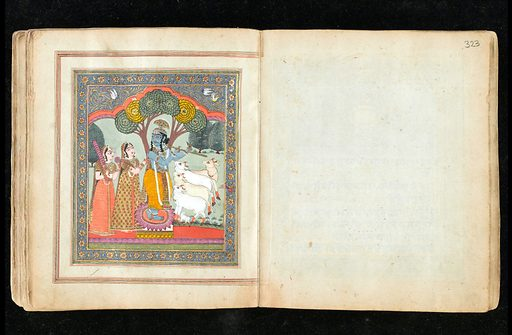 Panjabi Manuscript 255. Illimunated chapter heading. The extensive floral and vine decorations are caracteristic 19th c Kashmiri productions, while the interlinear golden 'cloud' decorations evoke similar adornments used in Islamic manuscripts. Krishna. Sacred Subjects. Work ID: us7mhgfh.