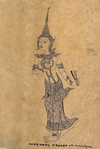 Phranang Krasat. Pen and ink drawing. Queens. Kings and rulers. Princes. Princesses. Royal houses. Costume. Phranang Krasat, Queen. Work ID: e82uja5a.