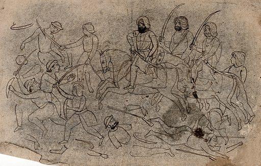 A battle. Ink drawing. Battles. War. Weapons. Armor. Work ID: bnqkc2sr.