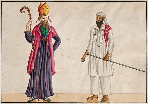 A bishop and a teacher from the Malabar Coast, India. Watercolour drawing. Bishops. Teachers. Costume. Christianity. Work ID: wx3kvjvq.