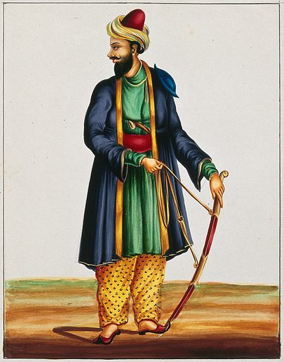 A warrior. Gouache drawing. Costume – India. Swords. Soldiers. Caste – India. Knives. Work ID: gdebdw58.