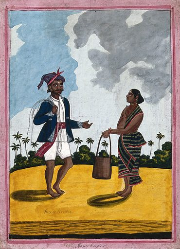 A horsegroom and his wife offering him horse feed. Gouache drawing. Horses. Horses – Grooming. Wives. Costume – India. Caste – India. Social classes. Food of animal origin. Animals – Food. Work ID: yudnggwq.