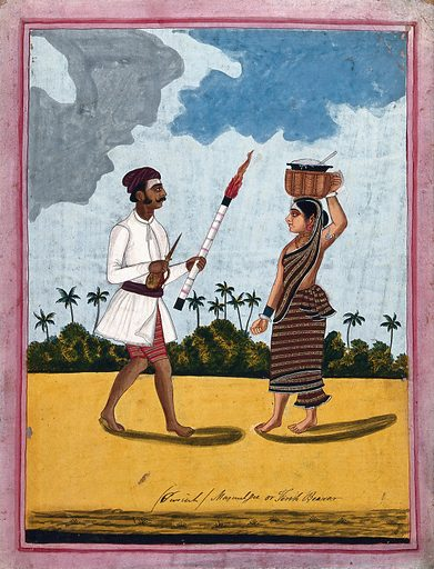 A torch-bearer and wife. Gouache drawing. Caste – India. Torches. Wives. Social classes. Costume – India. Household employees. Work ID: tpbvz2se.