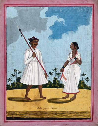 A palanquin bearer and wife. Gouache drawing. Sedan chairs. Transportation. Caste – India. Costume – India. Social classes. Work ID: gchm5wmj.