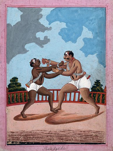 Prize wrestlers. Gouache drawing. Wrestling. Combat. Caste – India. Sports. Entertainers. Work ID: uqe6836a.