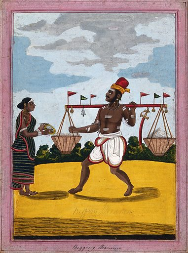 A begging Brahman carrying some rice accompanied by his wife. Gouache drawing. Rice. Brahmans. Caste – India. Hinduism. Costume – India. Altars. Hindu symbolism. Rites and ceremonies. Manners and customs. Work ID: xpcgtp2s.