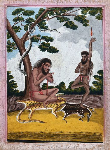 Two yogis, one meditating, the other performing a fire ritual. Gouache drawing. These yogis may possibly belong to the Sivite Yogis, who worship Shiva. Hinduism. Yogis. Poisonous snakes. Fire. Body marking – Religious aspects – Hinduism. Deer. Tiger. Hindu symbolism. Meditation. Cults. Work ID: ggyemfjm.