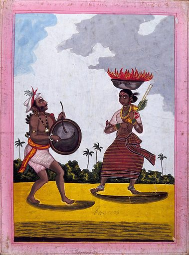A dancing couple from the Pujari caste. Gouache drawing. The woman in this image carries a bowl of fire on her head from which black markings are obtained for penance, part of the Pujari caste. Dancers. Dance – India. Rites and ceremonies. Caste – India. Fire. Penance. Musical instruments. Cults. Hinduism. Costume – India. Work ID: h4j3x73k.