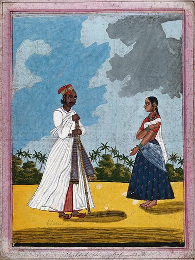 Chubdah or running footman and wife. Gouache drawing. Wives. Household employees. Costume – India. Caste – India. Saris. Work ID: rx4wfw9x.