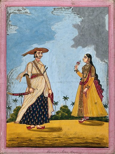 Warrior horseman and wife. Gouache drawing. Horsemen and horsewomen. Soldiers. Flowers. Costume – India. Caste – India. Muslims. Swords. Wives. Work ID: nqf25ptu.