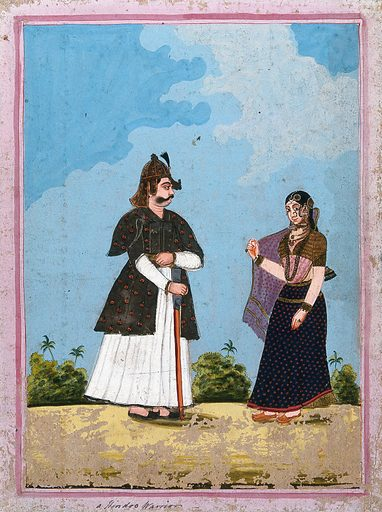 A Hindu warrior and his wife. Gouache drawing. Soldiers. Wives. Costume – India – History. Military uniforms. Swords. Caste – India. Saris. Work ID: g8tafjhk.