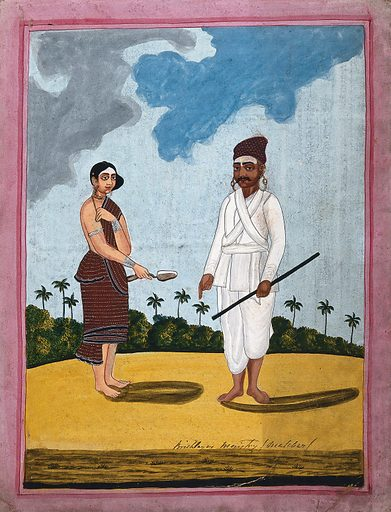 An Indian bricklayer and wife. Gouache drawing. Caste – India. Costume – India. Bricks. Brickmaking. Brickmakers. Occupations. Work ID: xvm3hav5.