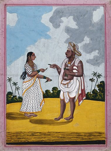 A man from Mysore being handed some betel leaves by his wife. Gouache drawing. Betel leaves. Costume – India. Caste – India. Body marking – Religious aspects – Hinduism. Work ID: b6ag2pfz.