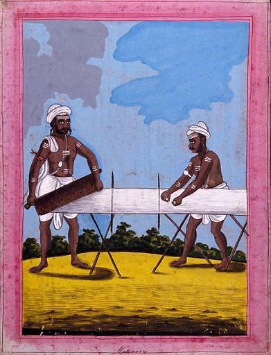 Indian weavers. Gouache drawing. Weaving. Cotton manufacture. Body marking – Religious aspects – Hinduism. Caste – India. Costume – India. Occupations. Work ID: g7jgv3e2.