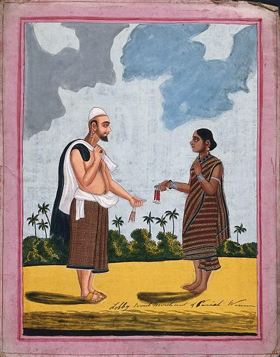 Indian coral merchant selling jewelry to a woman. Gouache drawing. Corals. Coral jewelry. Merchants – India. Caste – India. Costume – India. Occupations. Work ID: v7pm68x6.