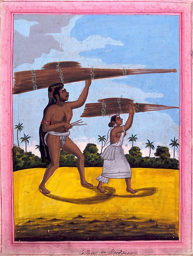 Woodman and wife. Gouache drawing. Wood. Occupations. Caste – India. Social classes. Timber. Lumber trade. Lumbermen – India. Work ID: hvktee3v.