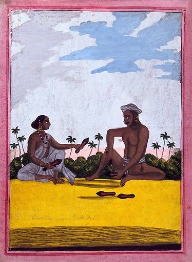 Indian cobbler and wife. Gouache drawing. Shoes. Jewelry. Caste – India. Social classes. Occupations. Shoemakers. Shoe industry. Footwear industry. Leather industry and trade. Work ID: tbtnnn7d.