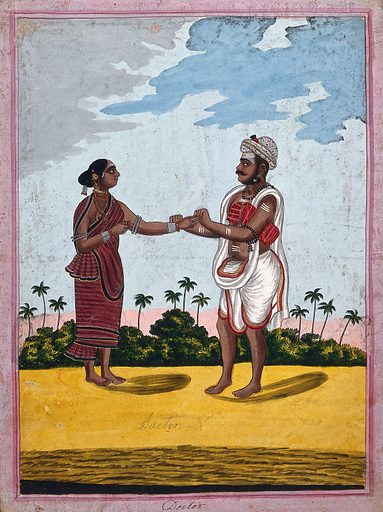 Indian doctor taking the pulse of a patient. Gouache drawing. Physicians. Pulse – Measurement. Caste – India. Body marking – Religious aspects – Hinduism. Costume – India. Jewelry. Work ID: w5uxybyk.