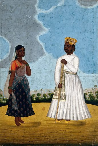 A Moorish man with wife. Gouache drawing. Costume – India. Saris. Jewelry. Religion. Muslims. Caste – India. Staffs (Sticks, canes, etc.). Wives. Work ID: extp67w8.