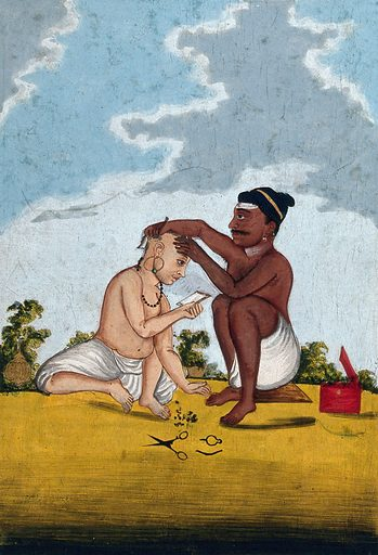 A Malabar barber cutting a customer's hair. Gouache drawing. Barbers. Razors. Shaving. Body marking – Religious aspects – Hinduism. Caste – India. Work ID: xae6vqet.