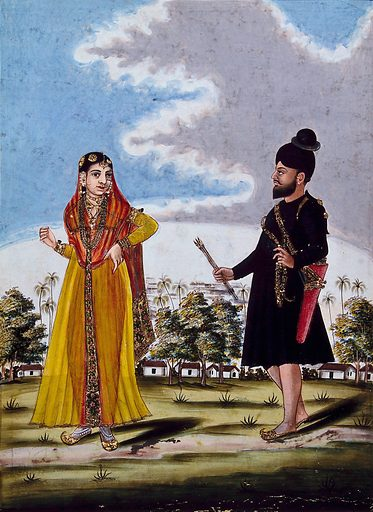 Sikh soldier and wife outside barracks. Gouache drawing. Costume – India. Soldiers. Bow and arrow. Jewelry. Body marking – Religious aspects – Hinduism. Caste – India. Ethnology. Sikhs. Work ID: v9mpd6mc.