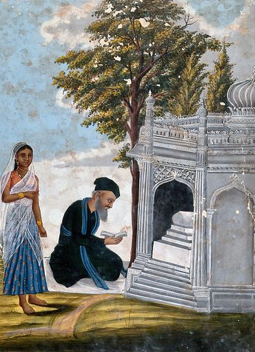 A Hindu praying to a shrine accompanied by a young lady. Gouache drawing. Shrines. Hinduism. Prayers. Architecture. Caste – India. Ethnology. Work ID: ej6wqnd2.