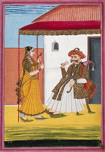 A Maratha man, richly dressed, seated under a canopy enjoying the scent of a white rose, with a woman on the left holding a brightly plumed bird. Gouache, 18 –. The house is European in style, with a tiled roof and brick-walled courtyard, as in painting no. 17 in this album (Wellcome Library catalogue no. 728151i). Created 1800–1899. Maratha (Indic people). Ornamental birds. Architecture – India – British influences. India. Work ID: kce69jvu.