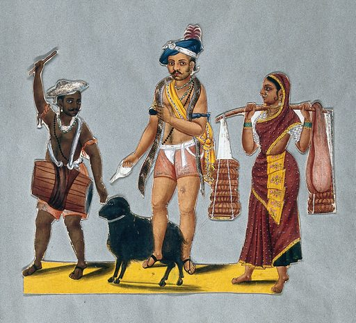 Indian travelling entertainers with animals. Gouache painting. Three people: left to right; a drummer, a man with a snake around his neck and a black ram; a woman carrying wicker baskets and sacks on a panier. Created 1815?. Animals – Exhibitions. Entertainers. Drum. India. Work ID: vqp2nzza.